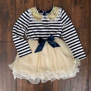 Girls 3T, navy blue, cream & gold dress. Like new!